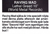 Raving Mad - Lethal Greed review (Backstage #9)